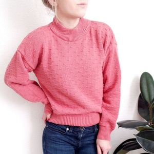 Vintage Mock Neck Mauve Oversized Chunky Sweater